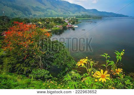 Shore of the magnificent Lake Toba on the Sumatra Island, Indonesia
