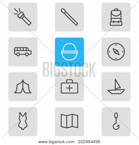 Vector illustration of 12 tourism icons line style. Editable set of camp, rucksack, stick and other icon elements.