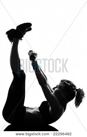 woman workout fitness posture body building weight training exercise exercising on studio isolated white background