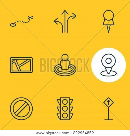 Vector illustration of 9 direction icons line style. Editable set of place, path, stoplight and other icon elements.