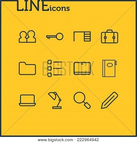Vector illustration of 12 bureau icons line style. Editable set of directory, team, pen and other icon elements.