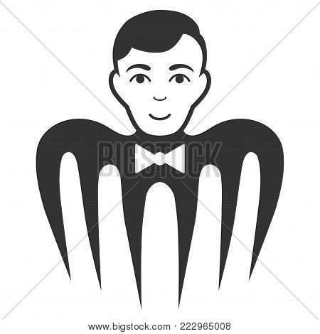 Croupier Spectre Monster flat vector pictogram. An isolated icon on a white background.