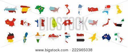 Landmark icon set. Flat set of landmark vector icons for web design isolated on white background