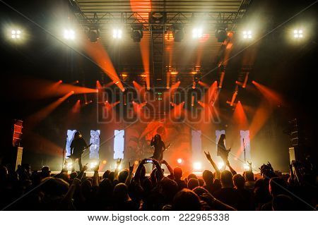 BELGRADE, SERBIA - JANUARY 19TH, 2018: GERMAN THRASH METAL BAND KREATOR PERFORMING AT BELGRADE METAL MEETING FESTIVAL