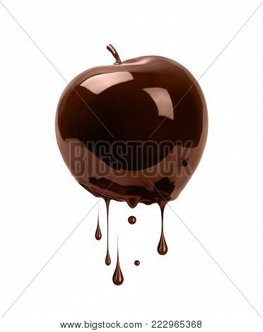 Apple poured with chocolate isolated on white background