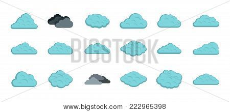Clean cloud icon set. Flat set of clean cloud vector icons for web design isolated on white background