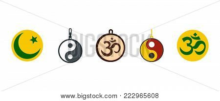 Religion sign icon set. Flat set of religion sign vector icons for web design isolated on white background