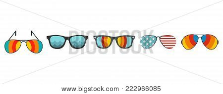 Sun glasses icon set. Flat set of sun glasses vector icons for web design isolated on white background