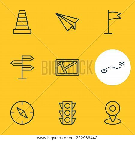 illustration of 9 navigation icons line style. Editable set of map, origami, guidepost and other elements.