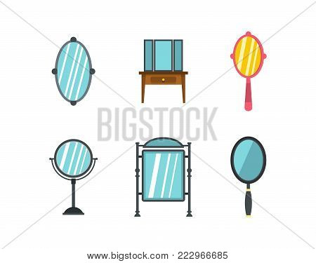 Mirror icon set. Flat set of mirror vector icons for web design isolated on white background