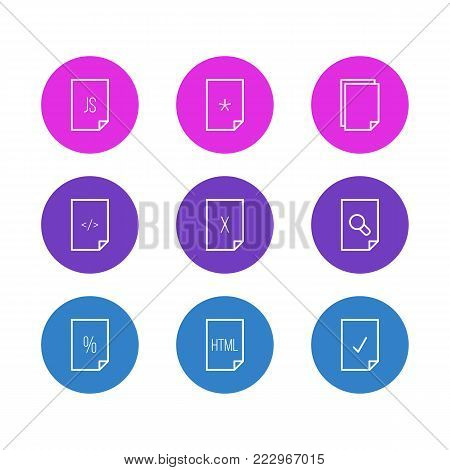 illustration of 9 document icons line style. Editable set of magnifier, HTML, delete and other elements.