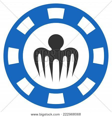 Monster Casino Chip flat vector illustration. An isolated icon on a white background.