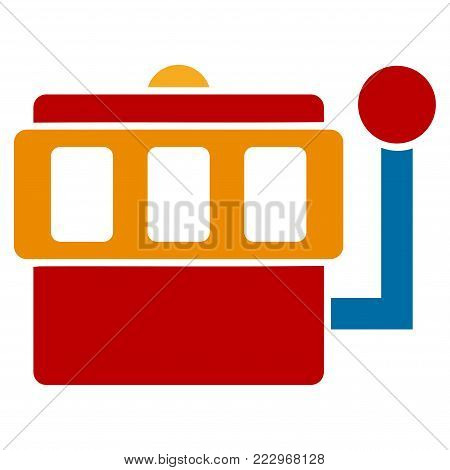 One-Armed Bandit flat vector pictogram. An isolated icon on a white background.