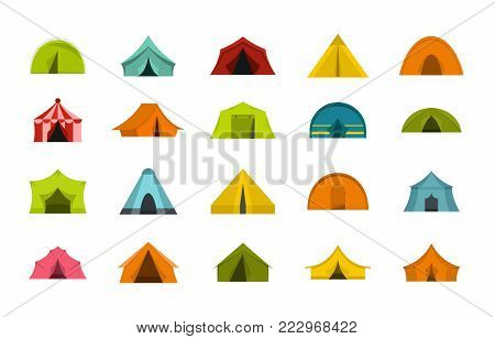 Tent icon set. Flat set of tent vector icons for web design isolated on white background