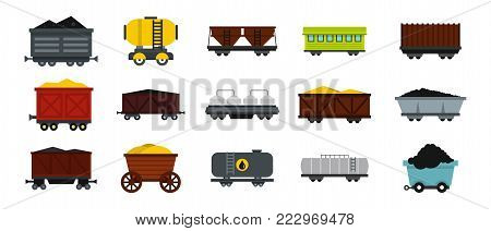 Wagon icon set. Flat set of wagon vector icons for web design isolated on white background
