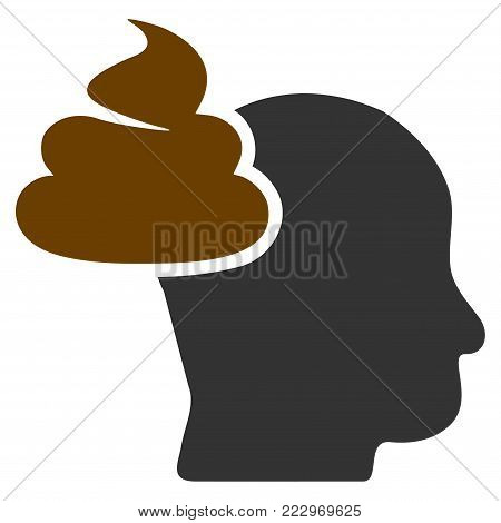 Shit Thinking Head flat vector pictograph. An isolated icon on a white background.