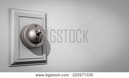 3D illustration of an old-fashioned ceramic light switch on a gray wall with the switch and backplate composed far left with messaging room to the right