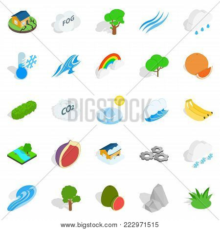 Clean air icons set. Isometric set of 25 clean air vector icons for web isolated on white background