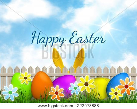 Illustration of a easter graphic with happy easter