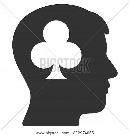 Gambling Addiction Patient flat vector pictogram. An isolated icon on a white background.