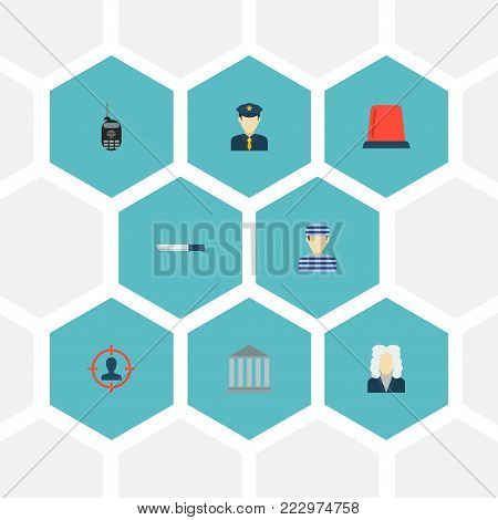 Set of crime icons flat style symbols with flasher siren, court, radio and other icons for your web mobile app logo design.
