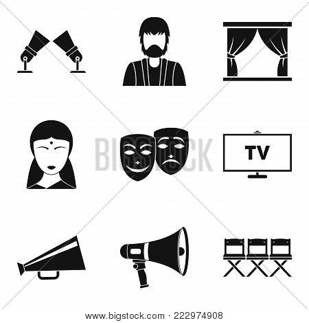 Feature film icons set. Simple set of 9 feature film vector icons for web isolated on white background