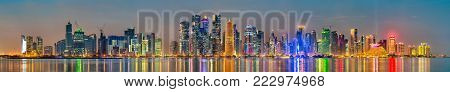 Skyline of Doha at sunset. Qatar, the Middle East