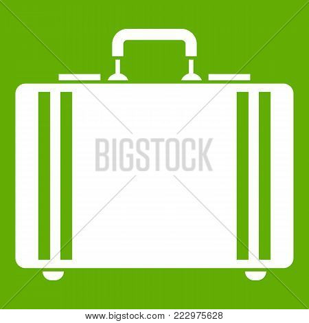 Diplomat icon white isolated on green background. Vector illustration