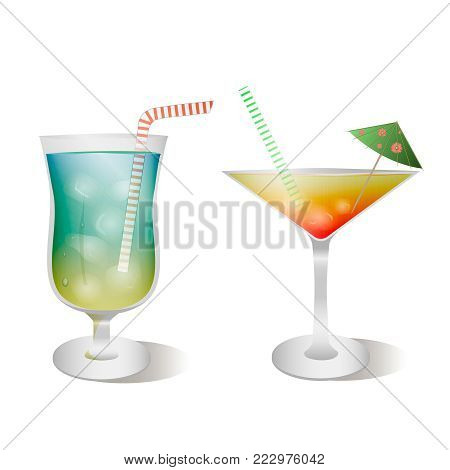 Vector set of stemware and glasses with cocktail. blue lagoon and tequila sunrise realistic, style