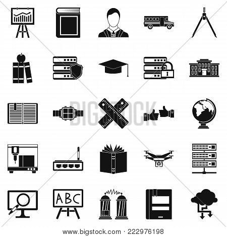 Educational matters icons set. Simple set of 25 educational matters vector icons for web isolated on white background