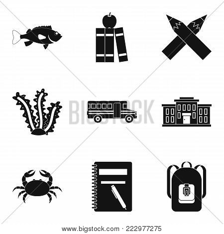 Learning sea life icons set. Simple set of 9 learning sea life vector icons for web isolated on white background