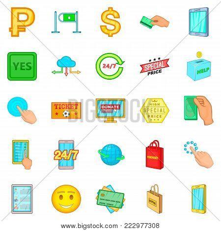 Electronic commerce icons set. Cartoon set of 25 electronic commerce vector icons for web isolated on white background