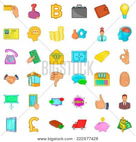 Invoice icons set. Cartoon style of 36 invoice vector icons for web isolated on white background