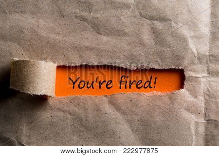 You're Fired Concepts - uncover envelope with notice of termination or dismissal.