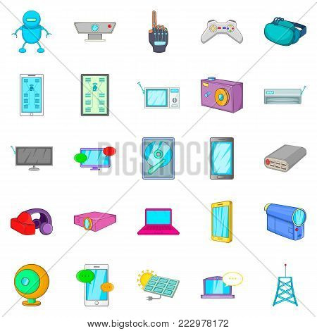 Computer part icons set. Cartoon set of 25 computer part vector icons for web isolated on white background