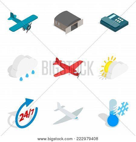 Aviation equipment icons set. Isometric set of 9 aviation equipment vector icons for web isolated on white background