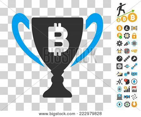 Bitcoin Award Cup icon with bonus bitcoin mining and blockchain pictographs. Vector illustration style is flat iconic symbols. Designed for blockchain websites.