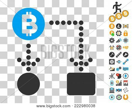 Bitcoin Cashflow pictograph with bonus bitcoin mining and blockchain pictographs. Vector illustration style is flat iconic symbols. Designed for crypto currency apps.