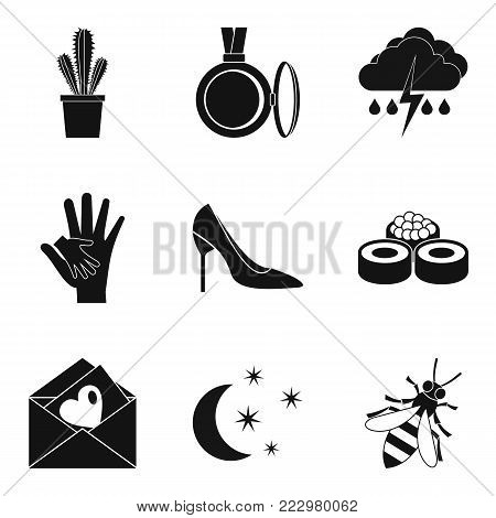 Floret icons set. Simple set of 9 floret vector icons for web isolated on white background