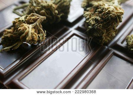 Chocolate Marijuana Edible With Bud On Chocolate High Quality Stock Photo