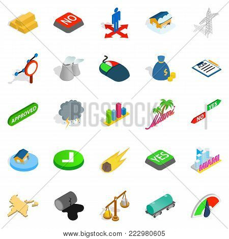 Pennant icons set. Isometric set of 25 pennant vector icons for web isolated on white background