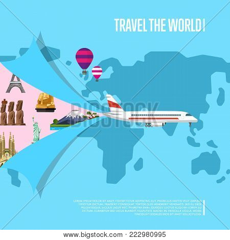 Travel the world concept for commercial airline. World tourism organization, comfortable air transportation, travel agency banner. Jet airplane on background of world map vector illustration