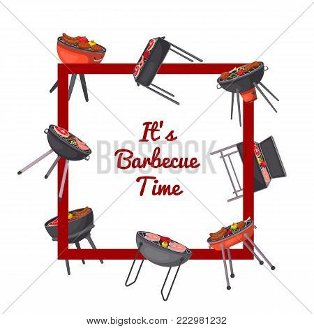 Barbecue time poster with grilled meat on charcoal grills. Outdoor cooking equipment with assorted delicious food vector illustration. Garden bbq picnic, traditional weekend food preparation.