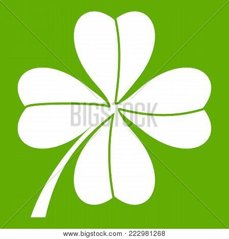 Four leaf clover icon white isolated on green background. Vector illustration