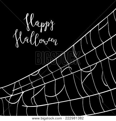 Happy halloween backdrop with creepy cobweb. Abstract detailed spider web silhouette on black background vector illustration. Realistic design element for scary holiday poster decoration.