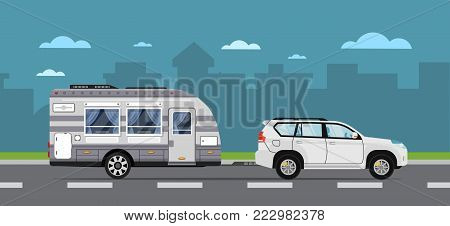 Road travel poster with suv car and camping trailer on highway. Modern RV trailer caravan, compact motorhome, mobile home for country traveling and outdoor family vacation vector illustration.
