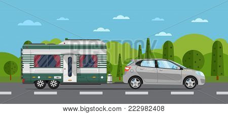 Road travel poster with hatchback car and camping trailer on nature background. RV trailer caravan, compact motorhome, mobile home for country traveling and outdoor family vacation vector illustration