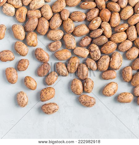 Uncooked dry pinto beans on gray concrete background, top view, square format