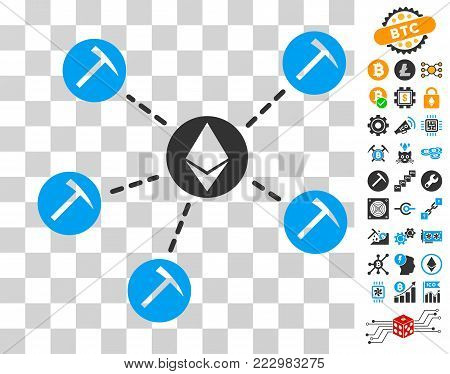 Ethereum Mining Pool pictograph with bonus bitcoin mining and blockchain images. Vector illustration style is flat iconic symbols. Designed for blockchain ui toolbars.