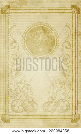 Yellowed and spotty paper background with decorative vintage border and patterns for the design. Vintage paper texture for background.